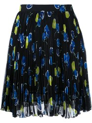 Msgm Watercolour Cherry Print Pleated Skirt Women Polyester 40 Black
