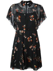 Red Valentino Floral Print Sheer Dress Black