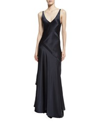 Narciso Rodriguez Sleeveless Bias Cut Silk Gown Dark Indigo Navy