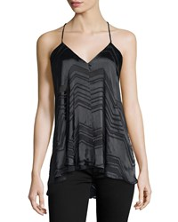 Ella Moss Vita Sleeveless Chevron Striped Top Black