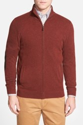 John W. Nordstrom Full Zip Cashmere Sweater With Faux Suede Elbow Patches Regular And Tall Brown