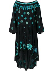 Michel Klein Embroidered Floral Dress Black