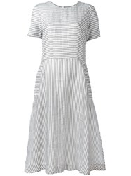 Chinti And Parker Flared Striped Dress White