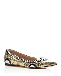 Kate Spade New York Go Glitter Taxi Flats Gold Black White