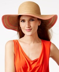 Collection Xiix Striped Edge Straw Floppy Hat