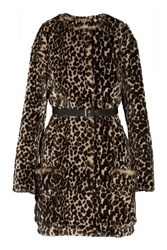 Nina Ricci Leopard Print Faux Fur Coat Animal Print