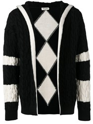 Saint Laurent Cable Knit Hooded Cardigan Black