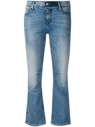 Rta Cropped Flared Jeans Blue