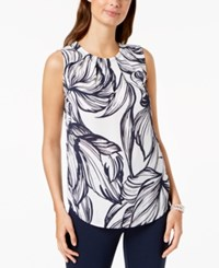 Nine West Printed Pleat Neck Shell Lily Navy