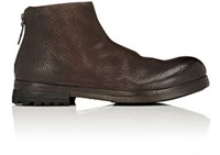 Marsell Men's Grained Leather Ankle Boots Dark Brown