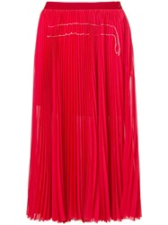 Aviu Pleated Mid Lenght Skirt Red