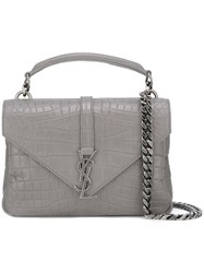 Saint Laurent Medium Monogram College Satchel Bag Grey
