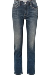 Current Elliott The Stovepipe High Rise Straight Leg Jeans Mid Denim