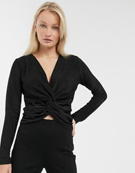Only Becca Knot Front Long Sleeve Top Black