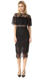 Cynthia Rowley Geo Lace Midi Dress Black