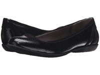 Lifestride Airy Black Snake Patent Elf Women's Flat Shoes