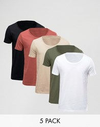 Asos 5 Pack T Shirt With Scoop Neck Multi