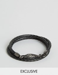Simon Carter Plaited Leather Wing Bracelet Exclusive To Asos Black