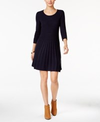Ny Collection Petite Ribbed Fit And Flare Sweater Dress Delta Navy