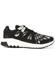 Neil Barrett Molecular Runner Lightning Bolt Sneakers Black