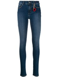 Twin Set Heart Keyring Detail Skinny Jeans Blue