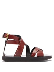 Isabel Marant Nasha Studded Leather Sandals Burgundy