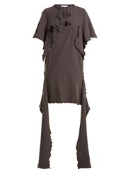 J.W.Anderson Cut Out Distressed Cotton Jersey Dress Dark Grey