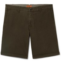 Barena Stretch Cotton Ripstop Shorts Army Green