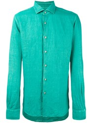 Xacus Slim Fit Shirt Men Linen Flax 39 Green