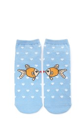 Forever 21 Fish Love Ankle Socks Blue Multi