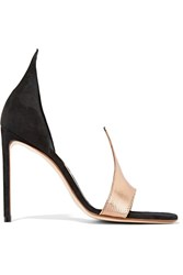 Francesco Russo D'orsay Suede And Snake Sandals Gold