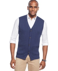 Tasso Elba Big And Tall Cable Front Sweater Vest Only At Macy's Navy