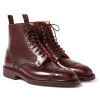George Cleverley Toby Leather Brogue Boots Burgundy