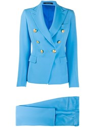Tagliatore Double Breasted Two Piece Suit Blue