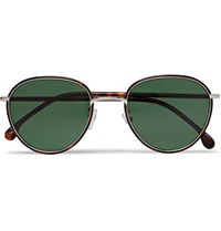 Paul Smith Albion Round Frame Tortoishell Acetate And Silver Tone Sunglasses Gold