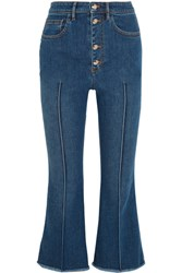 Sonia Rykiel Cropped High Rise Flared Jeans Blue