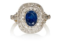 Stephanie Windsor Antiques Women's Art Deco White Diamond And Blue Sapphire Ring