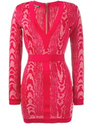 Balmain Moire Patterned Mini Dress Pink Purple
