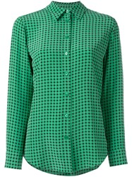 Equipment Houndstooth Print Shirt Green