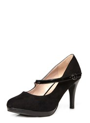 Evans Extra Wide Fit Black Suedette Heel