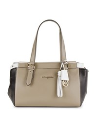 Karl Lagerfeld Smooth Leather Satchel Taupe Combo