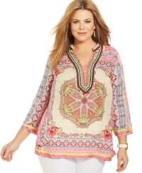 Charter Club Plus Size Printed Beaded Tunic Rouge Red