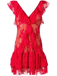 Aniye By Ruffle Trim Floral Lace Dress Red