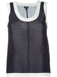 Armani Jeans Check Effect Sleeveless Top Blue
