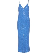 Diane Von Furstenberg Havita Sequinned Silk Slip Dress Blue
