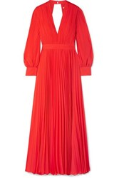 Alice Olivia Cheney Cutout Pleated Georgette Maxi Dress Red