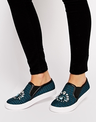 Asos Diamond Embellished Plimsolls Greenmulti