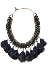 Isabel Marant Gold Tone Stone And Feather Necklace Blue