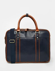 River Island Work Bag In Faux Leather In Navy Lightbrown