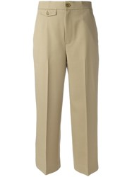 Helmut Lang High Waisted Cropped Trousers Nude Neutrals